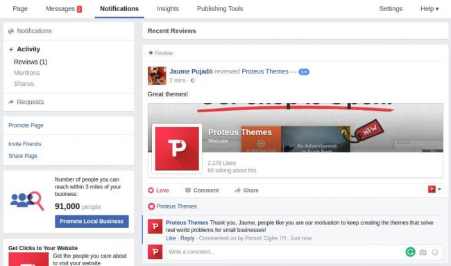 screenshot of our fb page with 5 star review