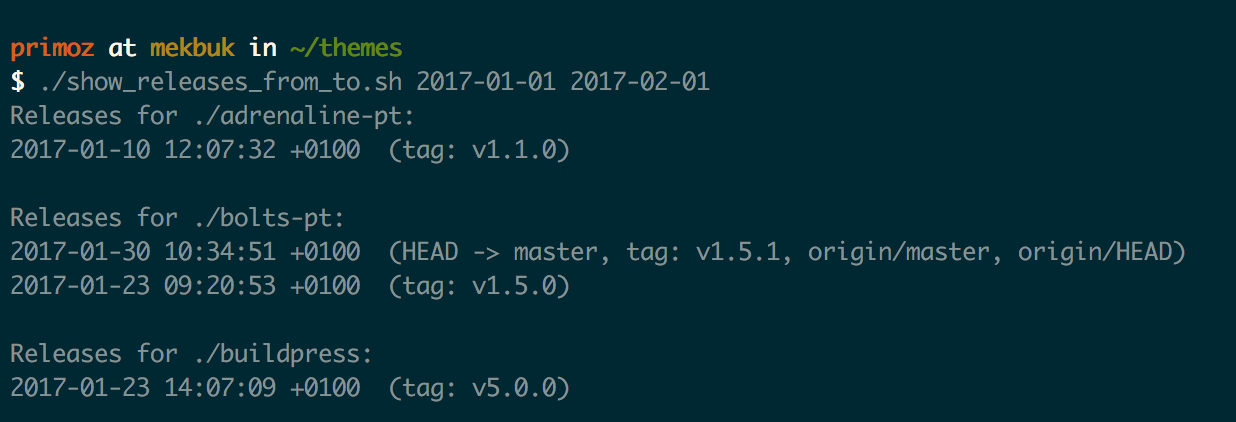 This bash script can tell you all software releases in the given ...
